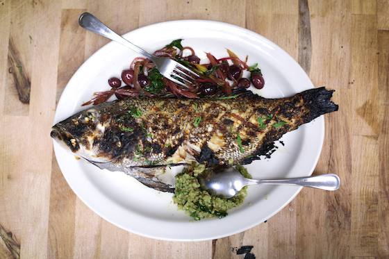 Grilled Whole Lake Trout with Onions, Olives and Red Chard Recipe