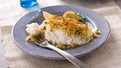 Halibut with Bread Crumbs and Smoke-Roasted Tomato Sauce Recipe