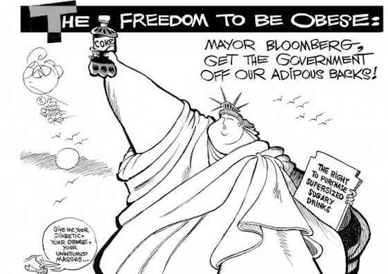 The War on Soda Pop - Supersized Liberty, an OtherWords cartoon by Khalil Bendib
