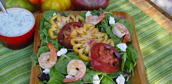 Heirloom Tomato Salad With Grilled Shrimp