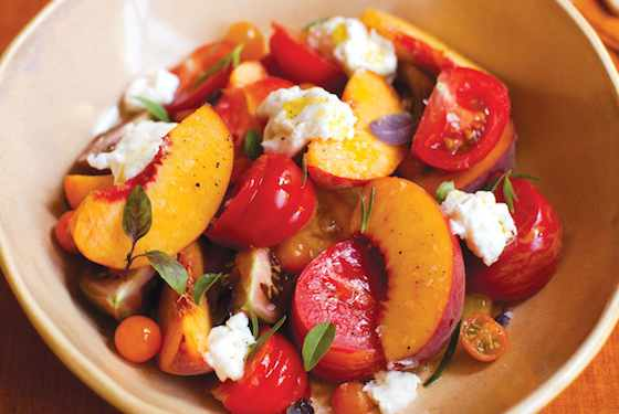 Heirloom Tomatoes with Peaches and Burrata