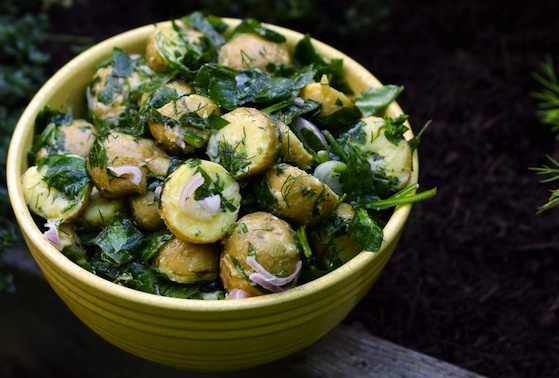 Herb Garden Potato Salad with Fresh Spinach and Lemon