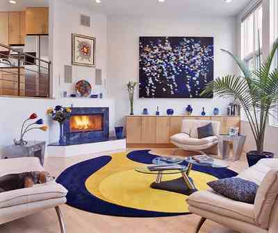 This room's Retro style incorporates many midcentury modernist elements,  but it contains more focal points