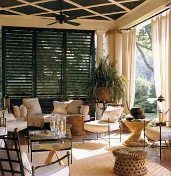 Home Decor - As Winter Looms, Time to Think Porches, Patios and Terraces. A louvered partition maintains the privacy of this porch without sacrificing access to light or breezes