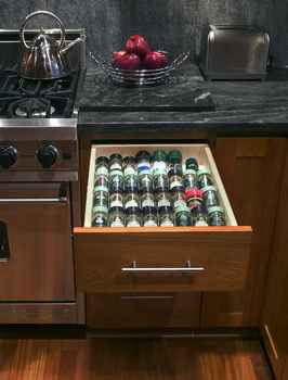 Consider specialty organizers like a spice rack