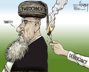 David Horsey | June 24, 2009 01:56 PM Iran; theocracy; democracy; supreme leader.