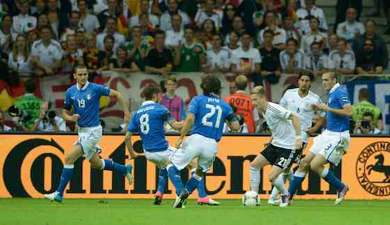 WARSAW, POLAND - JUNE 28: Marco Reus (3rd R) of Germany in action against Claudio Marchisio and Andrea Pirlo of Italy during the UEFA EURO 2012 semi final match between Germany and Italy at National Stadium on June 28, 2012 in Warsaw, Poland. (Photo by Claudio Villa/Getty Images)