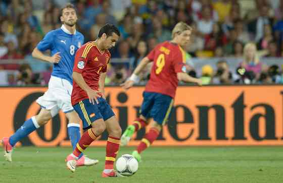 KIEV, UKRAINE - JULY 01: Pedro of Spain in action during the UEFA EURO 2012 final match between Spain and Italy at the Olympic Stadium on July 1, 2012 in Kiev, Ukraine (Photo by Claudio Villa/Getty Images)