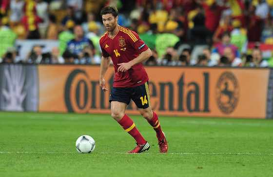 KIEV, UKRAINE - JULY 01: Xabi Alonso of Spain during the UEFA EURO 2012 final match between Spain and Italy at the Olympic Stadium on July 1, 2012 in Kiev, Ukraine. (Photo by Shaun Botterill/Getty Images)