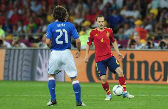 KIEV, UKRAINE - JULY 01: Andres Iniesta of Spain in action during the UEFA EURO 2012 final match between Spain and Italy at the Olympic Stadium on July 1, 2012 in Kiev, Ukraine (Photo by Shaun Botterill/Getty Images)