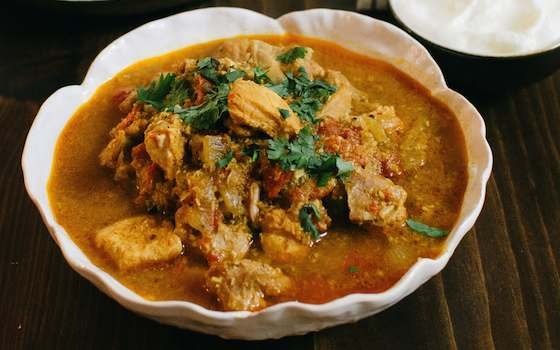 Kerala Chicken Curry with Roasted Coconut and Spices Recipe