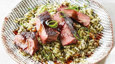 Korean Grilled Beef with Green Rice Recipe