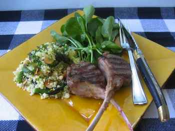 Lamb Chops and Couscous with Asparagus, Mint and Almonds