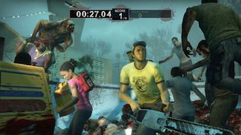 CaptionThe brilliant thing about 'Left 4 Dead 2' is that the story isn't segregated from gameplay by long cut scenes or being tucked into books or audio files or other cheap videogame gimmicks