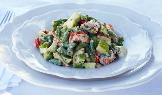 Lobster Salad with Green Beans, Apple and Avocado