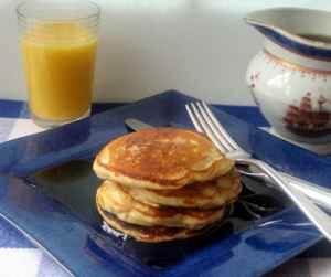 Maple-Pecan Pancakes with Warm Maple Syrup Recipe