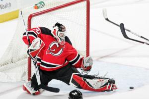 NEWARK, NJ - FEBRUARY 28: Martin Brodeur #30 of the New Jersey Devils stops a shot on goal during the third period against the Florida Panthers on February 28, 2009 at the Prudential Center in Newark, New Jersey. The Devils defeated the Panthers 7-2. (Photo by Andy Marlin/NHLI via Getty Images)