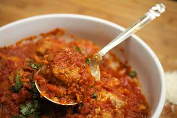 Light Mediterranean-Style Meatballs with Double Tomato Herb Sauce  - Diane Rossen Worthington Recipes