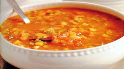 Minestrone Soup with Clams and Saffron Pasta  Recipe
