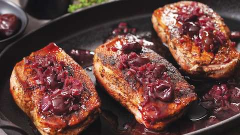 Mocha-Rubbed Duck Breast with Cherry and Red Wine Pan Sauce Recipe