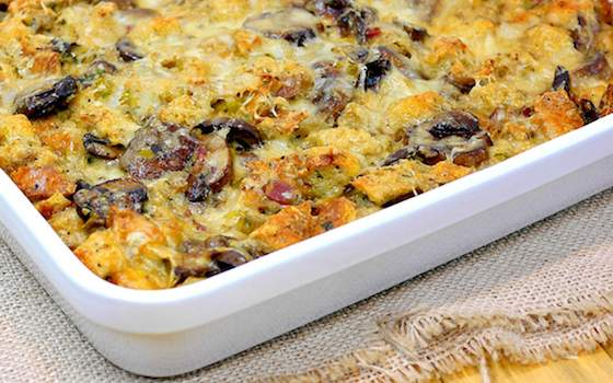 Mushroom and Leek Bread Pudding Recipe