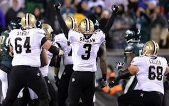 NFL 2013 Wild Card Saints defeat Eagles 26-24. Shayne Graham kicked four field goals, including the game-winner from 32 yards out as time expired