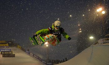 Clair Bidez rides in the superpipe competition in the Sprint U.S. Snowboarding Grand Prix at Park City Mountain Resort in Utah