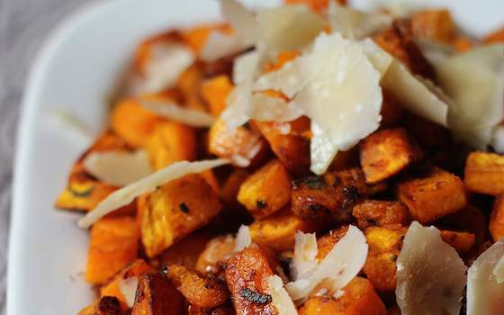 Pan-Seared Butternut Squash with Balsamic and Parmigiano Shards Recipe