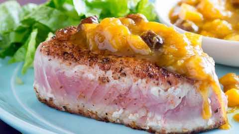 Pan Seared Tuna with Curry Mango Sauce Recipe