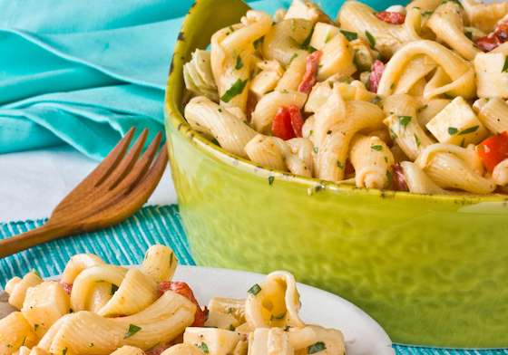 Pasta Salad with Gouda, Red Peppers and Artichoke Hearts Recipe
