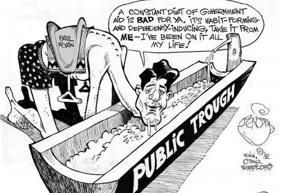 Paul Ryan at the Trough (Khalil Bendib)