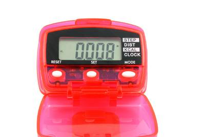 Pedometers count the number of steps you take. More elaborate models tell the time, calculate how many calories you've burned and keep daily step tallies