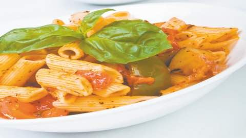 Penne with Peppers & Eggplant-Tomato Sauce Pasta Recipe