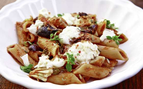 Penne with Tomatoes, Rosemary, Olives, Artichokes and Capers Recipe