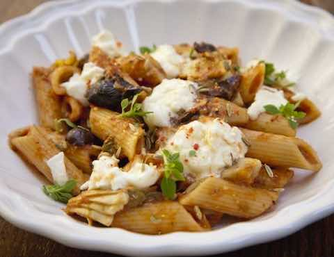 Patricia Wells' Penne with Tomatoes, Rosemary, Olives, Artichokes & Capers Recipe