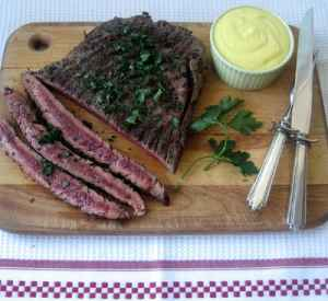 Pepper-Coated Flank Steaks with Aioli Recipe