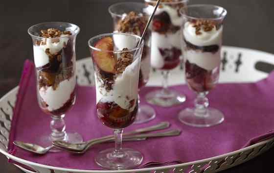 Plum Parfaits with Yogurt and Granola Recipe