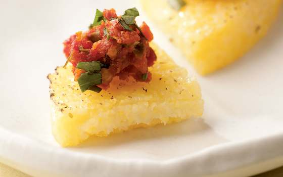 Polenta Wedges with Tomato Tapenade Recipe