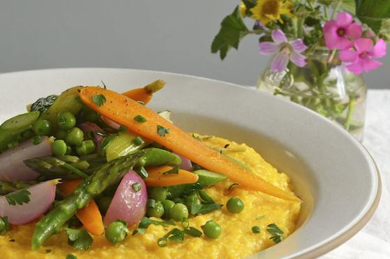 Polenta with Spring Vegetable Ragout Recipe