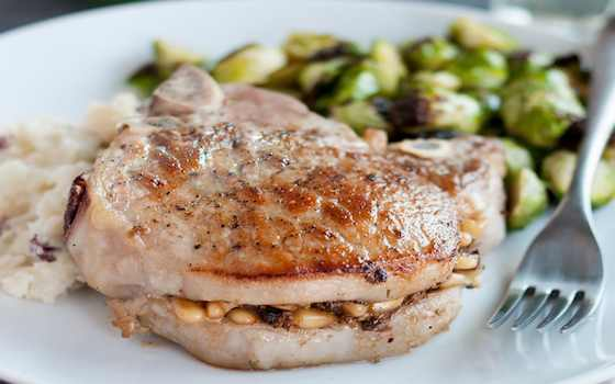 Pork Chops Stuffed with Pine Nuts, Porcini Mushrooms and Pecorino Recipe
