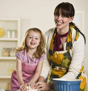 Preparing food with your child helps promote healthy eating habits.