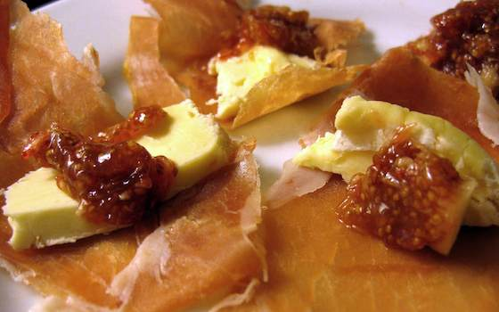 Prosciutto with Fig Puree and Triple Cream Cheese Recipe
