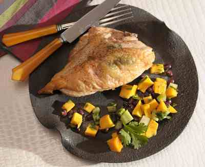 Roast Chicken Breast with Mango and Black Bean Salad