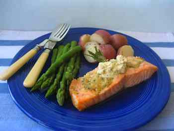 Roasted Salmon Fillets Topped with Mustard Herb Butter  Recipe