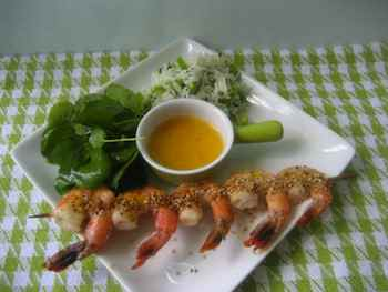 Roasted Skewered Shrimp with Warm Citrus Butter