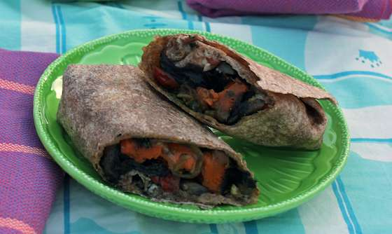 Roasted Sweet Potato Wraps with Caramelized Onions and Pesto | Recipes