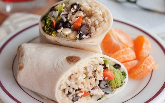 Roasted Vegetable Burritos with Black Beans and Rice Recipe