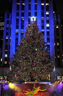 The 2010 Rockefeller Center Christmas Tree topped with Swarovski Star.