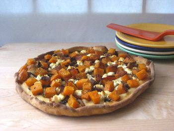 Rustic Pizzas with Butternut Squash, Goat Cheese, and Bacon Recipe
