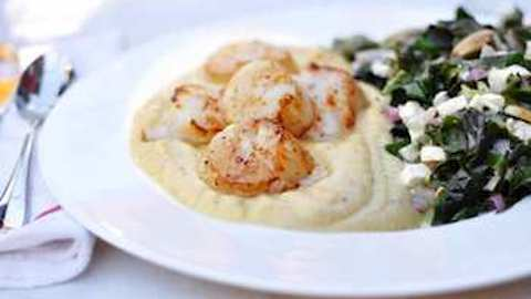 Rutabaga and Celeriac Puree with Seared Scallops